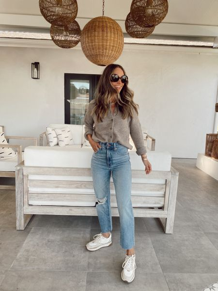 Vintage straight leg jeans, very soft, small bit of stretch, I recommend sizing down one. 20% off if you're an insider (signing up is simple)  Cardigan + sneakers included in sale    #LTKstyletip #LTKsalealert #LTKunder100