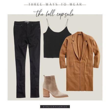 Fall capsule style, black jeans, black silk cami, cardigan, sweater blazer, long sweater, suede booties  #LTKstyletip #LTKSeasonal #LTKworkwear