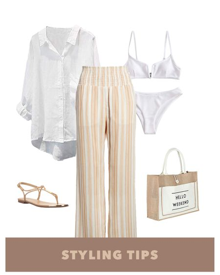 these striped beach pants paired with a linen button down top,  white bikini , beach bag and sandals makes a perfect poolside or vacation outfit. Shop my daily looks and finds by following me on the LIKEtoKNOW.it shopping app  http://liketk.it/3fOKv  #liketkit @liketoknow.it l #LTKcurves #LTKsalealert #LTKstyletip #LTKtravel #LTKunder50 #LTKunder100 #LTKworkwear #LTKSeasonal #LTKshoecrush #LTKSwim #LTKitbag    Beach vacation   beach pants   wide leg pants   palazzo pants   swimwear   swim   summer fashion   amazon finds   amazon fashion   amazon swim   vacation outfits   vacation   amazon swimsuits   beach outfit   blouse   beach tops   sunglasses   tie front top   beach bag tote   beach bags   white swimsuit   beach cover up  