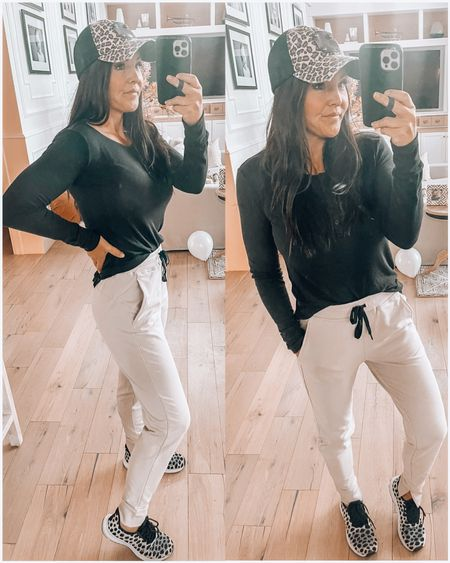 Saturday morning lounge- joggers! Softest Henley you will ever own (tons of colors & these joggers are a fav! Leopard print Louis Vuitton hat linked and spotted sneakers from Walmart!  Loungewear  Mom outfit  Comfy     #LTKunder100