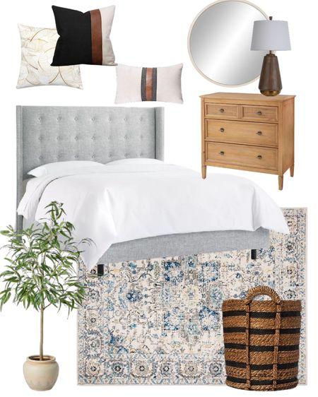 Bedroom ideas for neutral makeover. Upholstered bed, wood dresser, area rug, bedroom makeover idea. Love the throw pillows   #LTKhome #LTKstyletip #LTKunder100