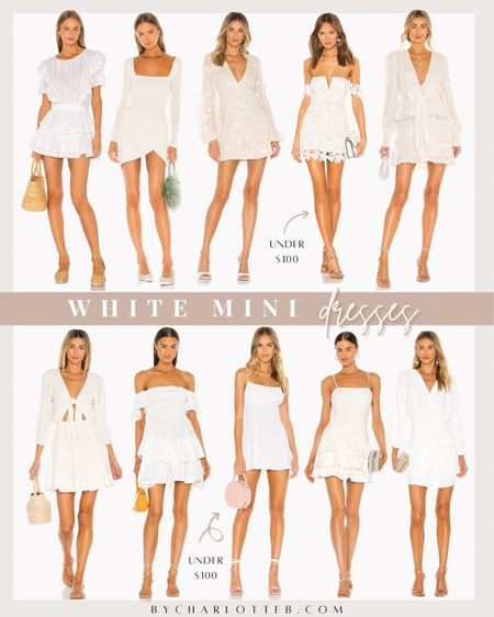 White dresses, mini dresses, summer fashion, beach vacation outfit, summer dress, graduation dress, spring dress, bachelorette dress, bride   #LTKwedding #LTKSeasonal #LTKunder100