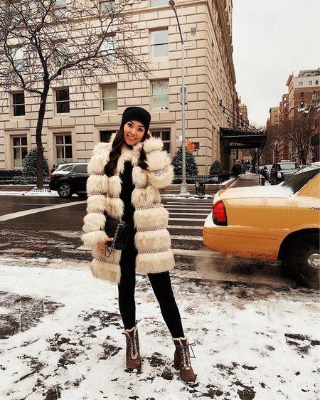 Faux fury coat with cashmere beanie.   #LTKSeasonal