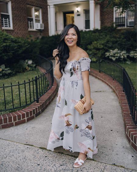 Amazon finds, beach vacation, summer fashion, date night outfits, summer dress, wedding guest dress: gray floral maxi dress, off the shoulder dress, floral print dress, floral dress, straw clutch, white slide sandals, white sandals. @liketoknow.it http://liketk.it/3hR3R #liketkit #LTKunder50 #LTKwedding #LTKstyletip