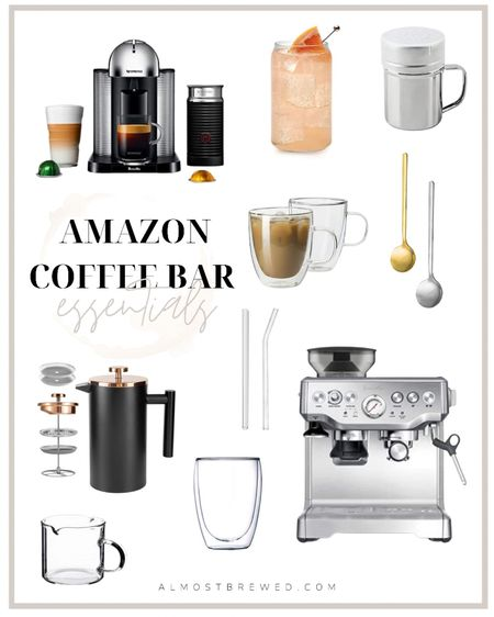 Amazon deals Amazon Coffee Bar Essentials and Must Haves  Glasses, glass, glassware, drinks, nespresso, breville, espresso maker, froth, milk froth, kitchen utensils, spoons, gold, silver, French press, reusable straw, glass straw, mugs, shakers  #LTKunder50 #LTKhome #LTKsalealert