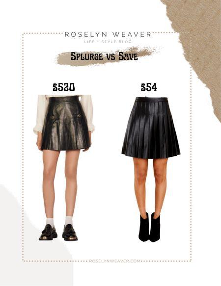 Splurge vs save - Leather pleated skirt, faux leather skirt, black mini skirt, tennis skirt  #LTKunder100 #LTKstyletip #LTKunder50