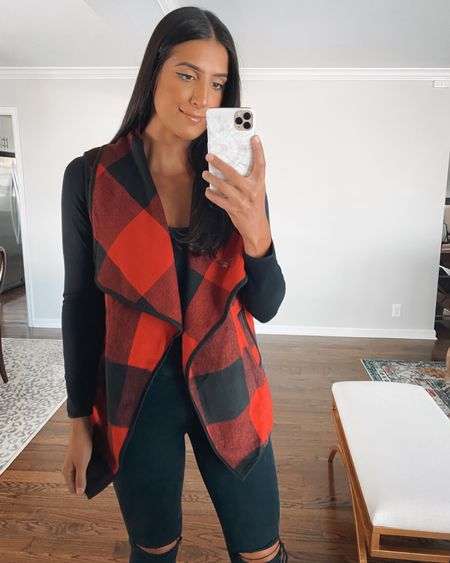 Buffalo plaid vest from Amazon fashion for fall outfit, medium and comes in other prints and colors   #LTKunder50 #LTKsalealert #LTKSeasonal