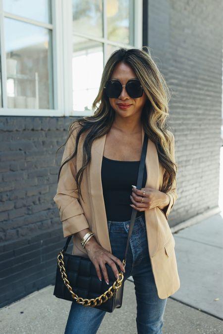 Neutral blazer, affordable blazer, woven bag, fall style, fall outfit ideas, Walmart style, Walmart fashion, affordable fall style   @walmart @walmartfashion #ad #walmartfashion  #LTKunder100 #LTKSeasonal #LTKstyletip