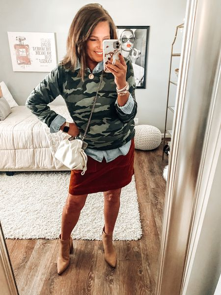 Camo sweater with chambray shirt and corduroy skirt with booties! J.Crew, Loft, Target, Old Navy, fall outfits, weekend outfit, Camo, boots, fall shoes, sale  #LTKunder50 #LTKstyletip #LTKsalealert