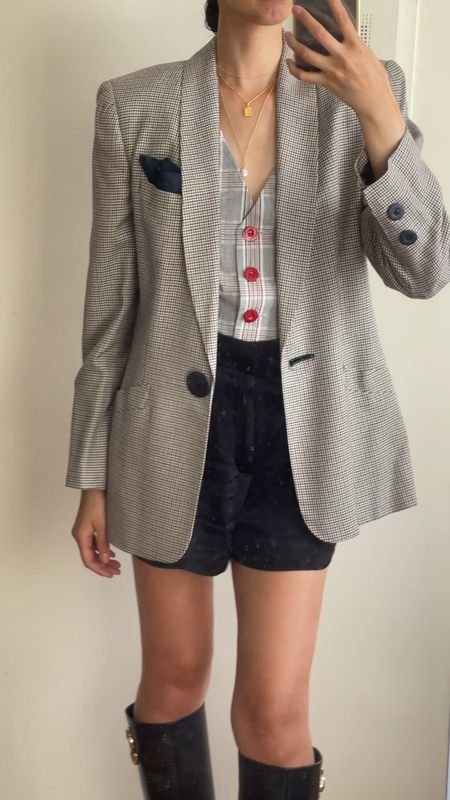Fall outfits, vests, tailored vest, plaid, fall look, transitional outfit, fall style, plaid blazer, fall blazers, knee high boots, gold jewelry, layered necklaces, fall boots, monica vinader, jimmy choo,   #LTKSeasonal #LTKstyletip #LTKunder50