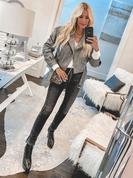 Under $100 faux leather jacket part of the NSALE and fully stocked - it runs tts I'm wearing an XS  #LTKsalealert #LTKunder100 #LTKstyletip