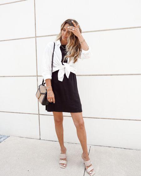 Lbd, white button up, tshirt dress, ysl bag, NSale, Nordstrom, Herfashionedlife   #LTKworkwear #LTKunder100 #LTKsalealert