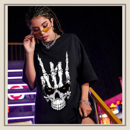 Skull print oversized tee shirt   #LTKunder50 #LTKunder100 #LTKstyletip