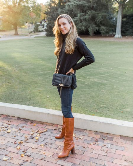 Your favorite look from the fall this vs. that—linked exact and similar items for less! Jeans and boots are TTS.  #skinnyjeans #blacksweater #blackturtleneck #darkwashjeans #kneehighboots