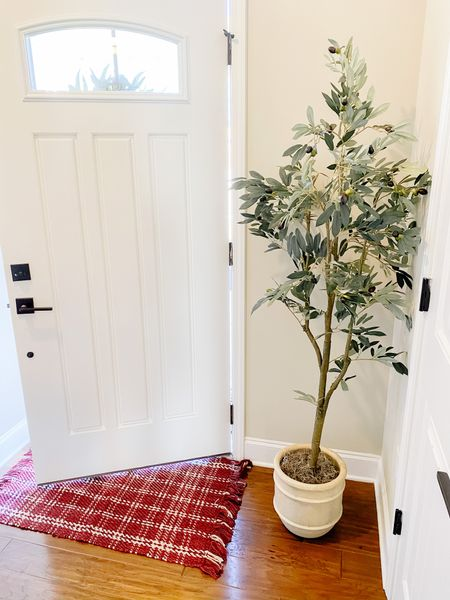 Ahh fall. Found the perfect fall plaid rug and faux olive tree for the warmest fall front porch, entry way!     #LTKhome #LTKunder100 #LTKsalealert