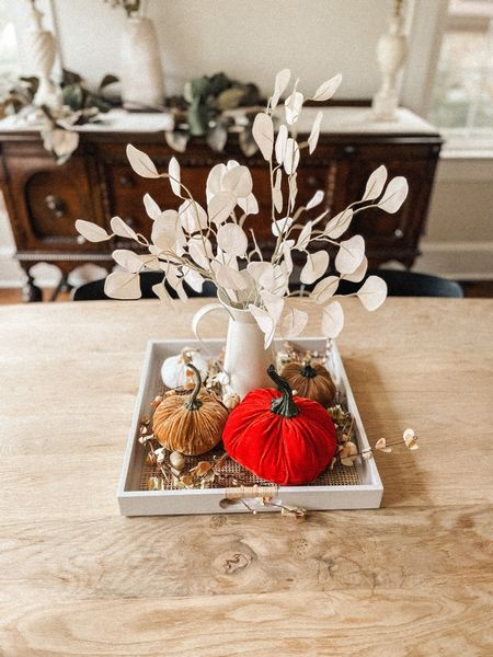 Fall home decor coffee table dining room decorations styled styling style velvet pumpkins neutral greenery stems natural modern minimal  #LTKHoliday #LTKSeasonal #LTKhome