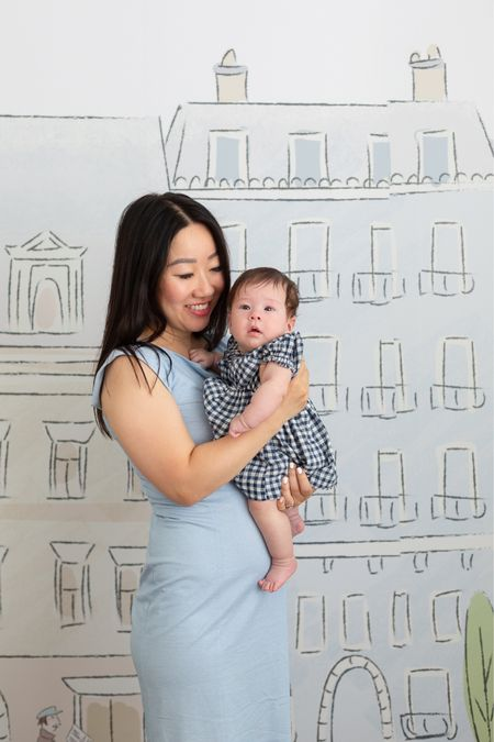 Both our dresses are on sale! April is 3 months old and wearing a Baby Gap gingham dress that's on sale for under $20. It's lined and comes with a pair of bloomers. My dress is from MM.LaFleur and it's on sale in the pink and black colors. I also linked my Parisian themed nursery wallpaper.   #LTKsalealert #LTKbaby #LTKunder50