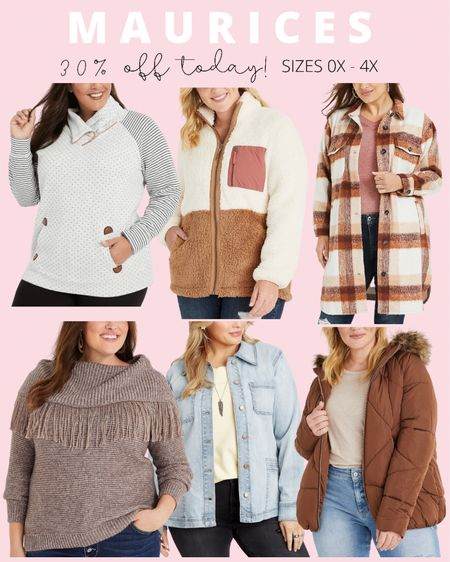Lots of plus size fashion finds for fall are 30% off today at Maurices! Plus size shackets, sherpas, and coats are included!   #LTKcurves #LTKSeasonal #LTKsalealert