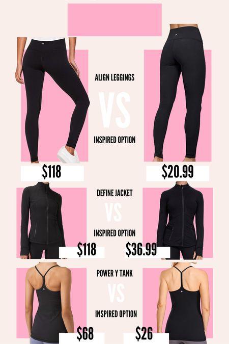 Splurge or save: Lululemon edition! I found inspired options for the Lululemon align leggings, the define jacket, and the power y tank! #lululemon #lululemondupe #definejacket #alignleggings #powerytank  #LTKfit #LTKunder100 #LTKunder50