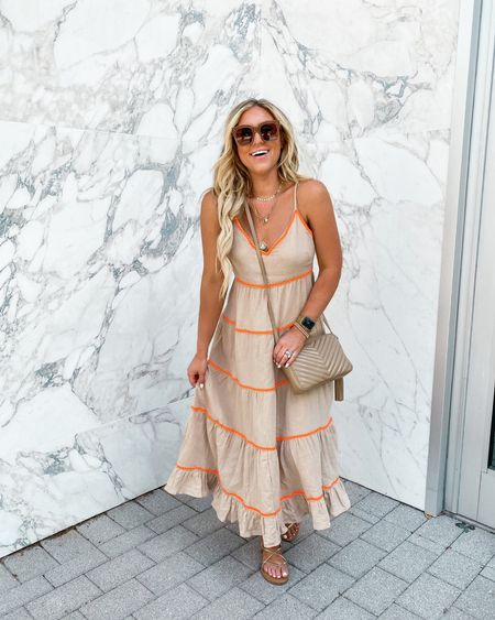 Scoop midi dress tiered dress Walmart fashion easy weekend look   #LTKstyletip #LTKunder50 #LTKsalealert