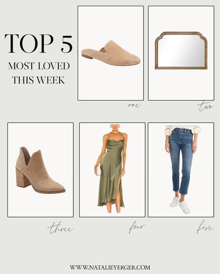 Reader favorites from last week!  - Flat mules fit true to size  - Mirror is perfect for a fall mantle. For more affordable fall decor, visit nyblog.me/falldecor2021  - Cutout booties fit true to size  - Green dress fits true to size and comes in more colors  - Jeans are on sale!