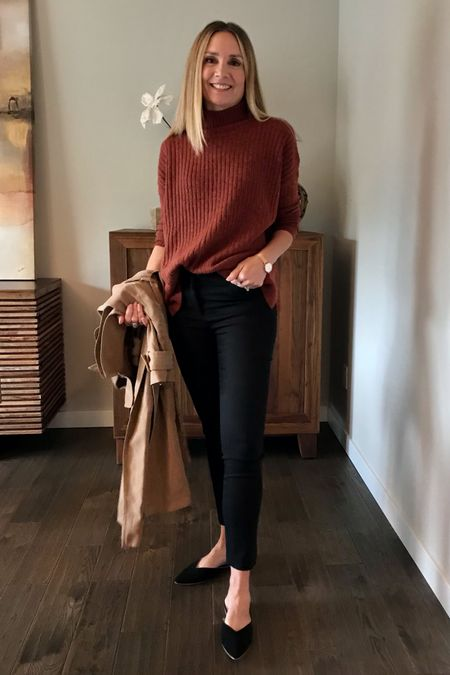 Styling my Loft ribbed mock neck sweater! Wearing size XS.   Workwear, black crop skinny pants, work pants, office outfit, teacher outfit, fall sweater, oversized sweater, Levi's, straight leg jeans, high waisted jeans, mules, combat boots, Marc fisher, fall boots   #LTKunder50 #LTKstyletip #LTKworkwear
