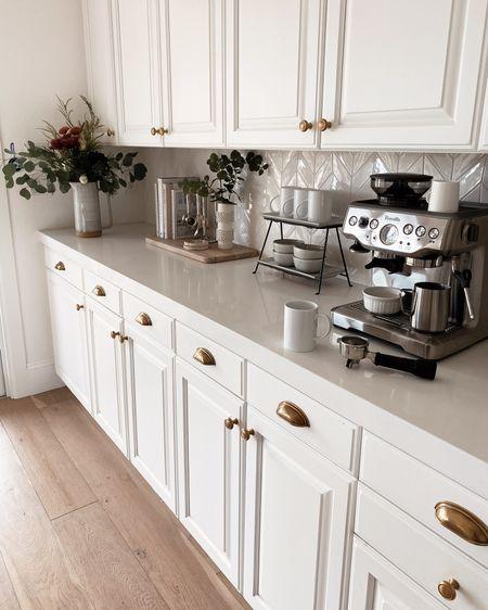 Coffee bar, coffee counter, counter decor, coffee machine, espresso machine, amazon finds, target finds, white kitchen, Stylinaylinhome   #LTKunder100 #LTKhome #LTKunder50