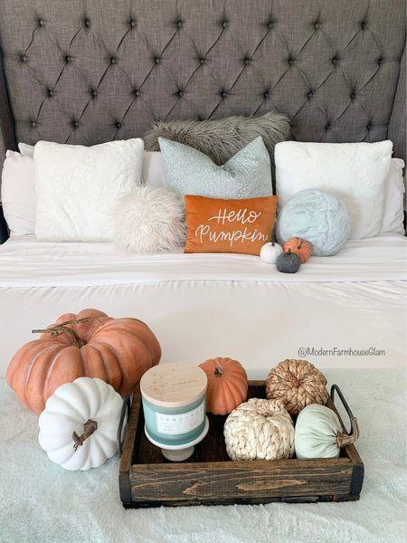 Pumpkins everywhere! Yep, even in the master bedroom. Modern Farmhouse Glam home decor.   #LTKSeasonal #LTKhome #LTKHoliday