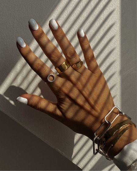 Gold jewellery, Monica vinader ring, Monica vinader bracelet, silver bracelet , chain bracelet, gold bracelet.  Gold bangle http://liketk.it/3kVwr @liketoknow.it #liketkit #LTKeurope #LTKstyletip