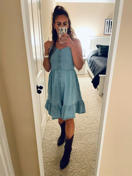 The perfect dress for shaking the dust off these boots for a night of two-stepping! Wearing a medium.   #LTKstyletip #LTKsalealert #LTKunder50