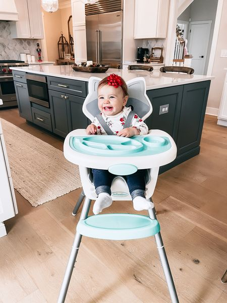 So this is a bit embarrassing, but this is our THIRD highchair in as many months.But, good news, this one is the best and the keeper. 🤣 The first one we had was formerly Isla's and got food stuck in every crevice and took forever to clean (and had mold on the inside of it, we discovered when we were getting rid of it).The next one was very bare bones and seemed like a good option, but the positioning of Mira made it so she was able to just throw food all over the floor so it was also a nightmare to clean up.This @infantinobaby one is just PERFECT for her.She's able to sit up well to eat but doesn't get a bunch of food on the floor and it's SO easy to clean.And come on, the raccoon?Adorable. It also grows with her, so it can convert to be at our kitchen table as she gets older or can turn into a toddler chair.I'm a huge fan of the idea of her being at the table with us, but also restrained 😉.  Anyhoo, if you need a highchair for your baby, this checks all the boxes and I'd highly recommend it!Ya'll know I don't recommend ANYthing unless I try it, love it, and continue to use it.So just know, this is like the goldilocks of highchairs.    Direct link to the highchair right here for easy finding:   #ad #infantinobaby #growwithme