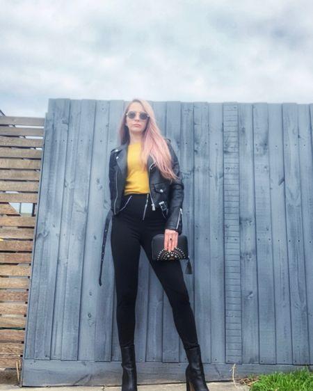Platform high heel boots, mustard jumper, leather jacket and black skinny pants… similar products linked xx     http://liketk.it/3hAjU #liketkit @liketoknow.it @liketoknow.it.europe @liketoknow.it.australia