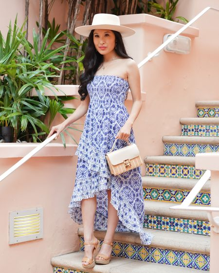 High Low Dress with a boater hat perfect for summer! Blue and white dress! http://liketk.it/3iNMj #liketkit @liketoknow.it