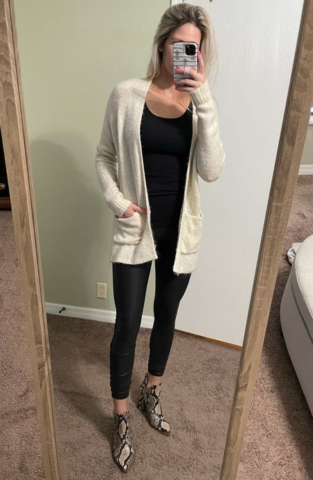 Size up in booties and in Spanx!       Spanx outfit  Nordstrom sale Nsale Snake skin booties Fall boots Cardigan  Fall outfit  #LTKunder100 #LTKstyletip #LTKshoecrush