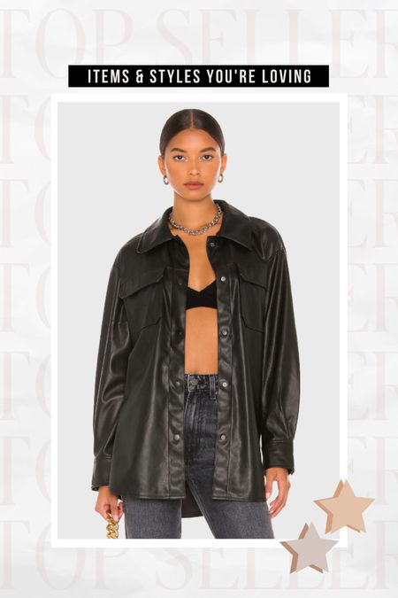 TOP SELLER: Faux Leather Shacket   Perfect for fall to wear on its own or layered over a bodysuit or blouse!   #LTKstyletip #LTKSeasonal #LTKunder100
