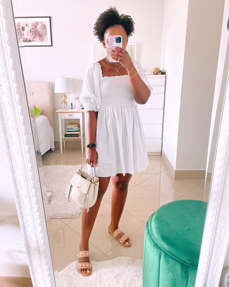 I love a little white dress and this is such a good one. Comfortable, not too short and perfect for a hot summer day.   #PinksoleOOTD // Shop it via LINK IN BIO.   http://liketk.it/3j46U #liketkit @liketoknow.it #LTKunder100