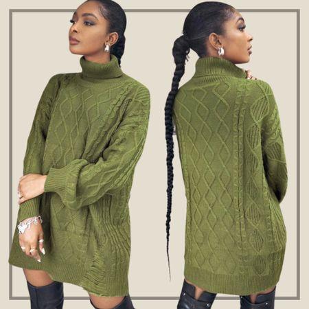 Drop shoulder cable knit sweater dress  #LTKunder100 #LTKstyletip #LTKunder50