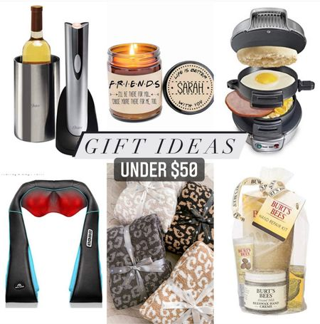 Fun holiday gift guide ideas for anyone on your list. The wine opener and cooler is a great gift for any woman, there's a friends candle that can be personalized, a breakfast sandwich maker with separate compartments for each piece of your sandwich, a back massager because we know everyone is under a lot of stress these days, a super soft leopard print blanket that is a designer inspired and looks just like barefoot dreams but for a fraction of the price, and a Bert's bees set to help keep everyone's hands soft and smooth during the cold months. Most of these are under $50 and ship free with Amazon prime.  #LTKHoliday #LTKGiftGuide #LTKSale