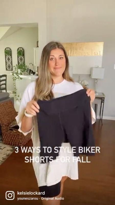 3 ways to style biker shorts for fall #ltkfall fall outfits fall fashion shacket athleisure   #LTKSeasonal #LTKunder100 #LTKstyletip