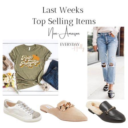 Top fashion sellers from last week from my blog.  Fall shoes // pumpkin tee // fall graphic tee // fall jeans   #LTKSeasonal #LTKunder50 #LTKshoecrush