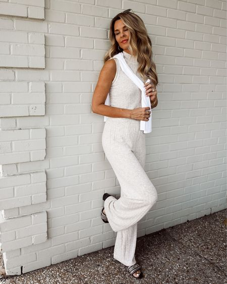 Happy Friday lovely's! Michael Stars ribbed lounge set with white long sleeve tshirt, Dior slides, Fall transition outfit, her fashioned life     #LTKstyletip #LTKSeasonal #LTKunder100
