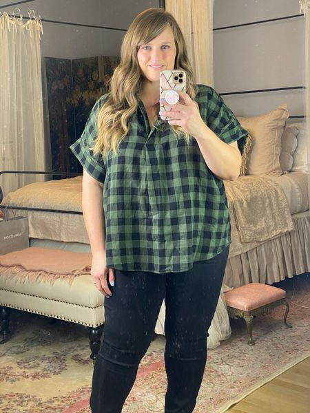These $15 jeans are SO good! Also love this rolled sleeve plaid top for fall!