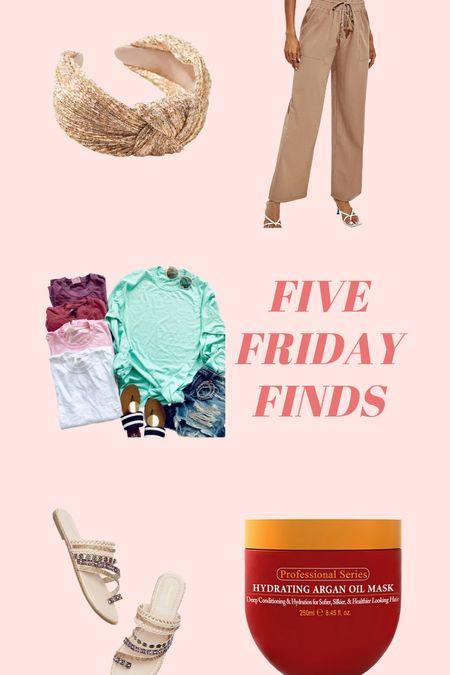 Five Friday Finds: Hair Mask, linen beach pants, statement headband, comfort colors basics, beaded studded sandal, amazon finds, hair products   #LTKsalealert #LTKunder50 #LTKbeauty