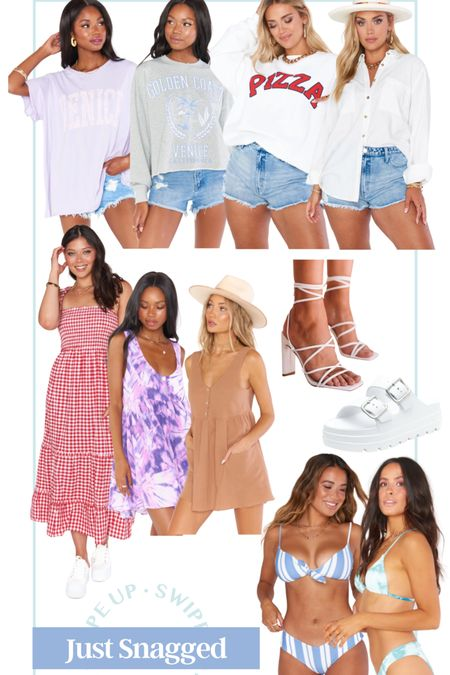 Just snagged from show me your mumu! Cute finds for summer! Plaid maxi flowy mini dress tie dye dress bikini tie dye bikini striped bathing suit oversized tee oversized sweatshirt pizza sweatshirt graphic tee graphic sweatshirt strappy heels chunky sandals Birkenstock dupe Oversized button up casual outfit boat day outfit girls night outfit date night outfit #LTKswim #LTKshoecrush #LTKunder100 http://liketk.it/3hOlT #liketkit @liketoknow.it