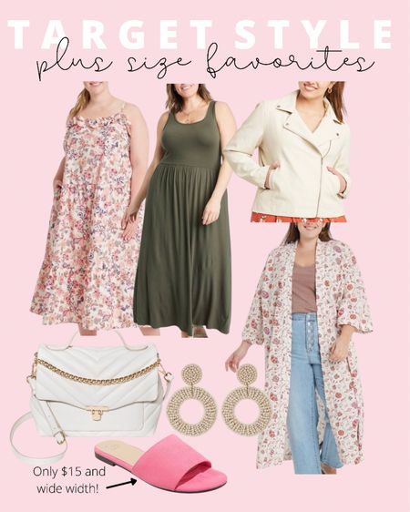 Sharing current plus size fashion favorites for late summer and early fall from Target Style! Plus size maxi dresses, wide width sandals, a designer inspired crossbody, and cute beaded earrings! Plus size outfit ideas on a budget!   #LTKunder50 #LTKcurves #LTKstyletip