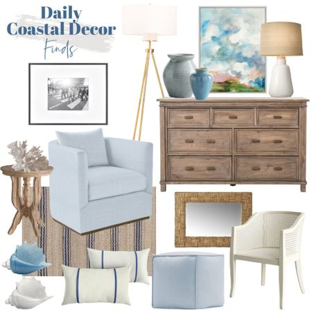 Shop today's daily coastal decor finds! Soft blues, wood tones and coastal accents all round out this space!   wood dresser, coastal artwork, white lamp, black frame, blue chair, coastal rug, white dining chair, woven mirror, brass lamp, wood side table, coastal accents   #LTKunder100 #LTKhome #LTKsalealert