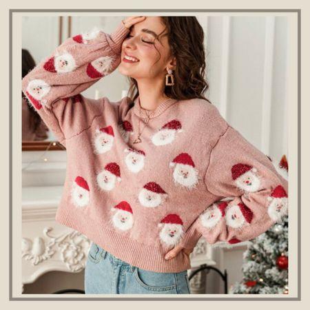 Santa print Christmas holiday sweater   #LTKunder50 #LTKHoliday #LTKstyletip
