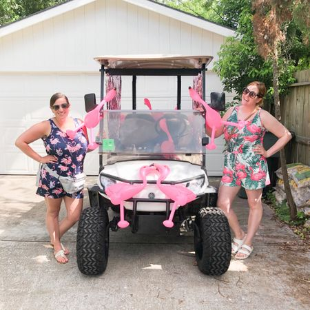 First ✈️ post-vaccine was obviously a trip to Galveston for a flamingo golf cart parade, and to see @malin_tini of course! In case you're just here because you love my 🦩 romper so much, I linked it via @liketoknow.it . You can shop by clicking the link in my bio or http://liketk.it/3hwqa . . . . .  #liketkit
