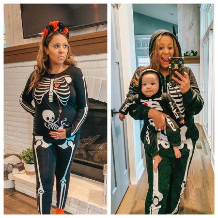 Halloween costume. Family costumes. Skeleton family costumes. Skeleton baby costume. Amazon Halloween costume. Maternity Halloween costume. Pregnancy Halloween costumes. Mommy and me costumes.   #LTKbump #LTKfamily #LTKSeasonal