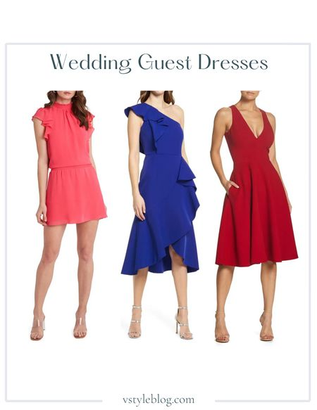 Wedding Guest Dresses, Summer Dress, Midi Dress, Mini Dress  1.State Flutter Sleeve Dress ($89-$99), Vince Camuto One-Shoulder Ruffle High/Low Cocktail Dress ($228), Dress the Population Fit & Flare Cocktail Dress (was $182, now $109.20 - $182)  #LTKwedding #LTKsalealert #LTKunder100